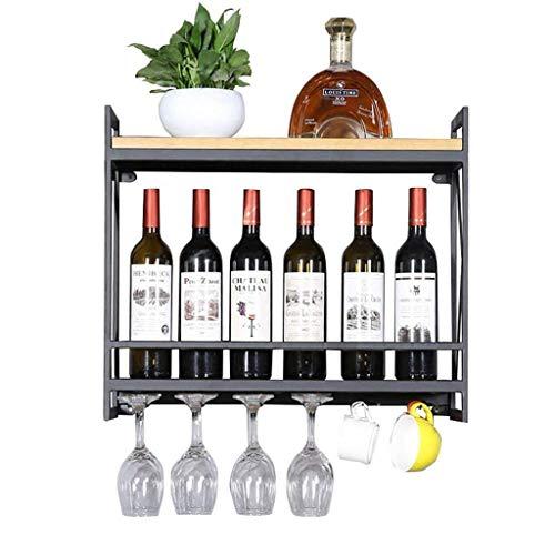 POETRY Estante para vinos Creativo Europeo Colgante de Pared Estantes para Vino de Hierro Estante para decoración de Restaurante Soportes para Copas de Vino de Madera Maciza Estante para cubiletes
