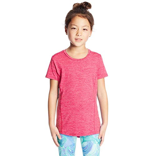 C9 Champion Girls' Supersoft Tech Tee, Vivid Fuschia Heather/Sunset, L