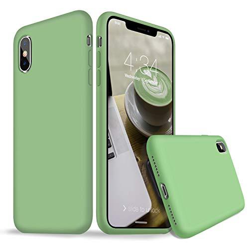 Cover iPhone X Silicone, Cover iPhone X, Custodia Antiurto Gomma Gel Silicio Liquido con Fodera Tessile Microfibra Morbida Caso Ultra Sottile Protettiva Cover per Apple iPhone X XS 5.8''(Verde Matcha)
