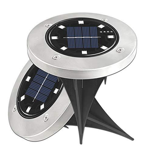 Lixada - 2 Unidades de 8 Luces LED solares para jardín, lámpara enterrada, luz al Aire Libre, Camino, decoración del jardín, terraza, Luces de Colores, lámpara para Exterior, Patio, Camino, jardín