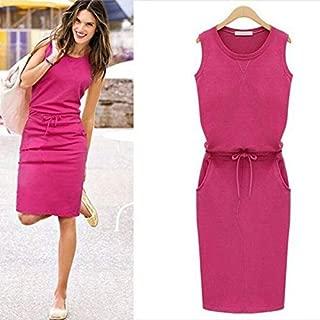 YIBEIANYU The New European And American Gray Round Neck Sleeveless Dress Package Hip Belt Straight Skirt Dress