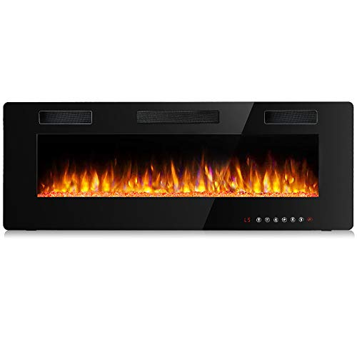 BOSSIN 60 inch Ultra-Thin and Silence Linear Fireplace, Recessed Electric Fireplace and Wall Mounted & in-Wall Fireplace, Adjustable Flame Colors &...