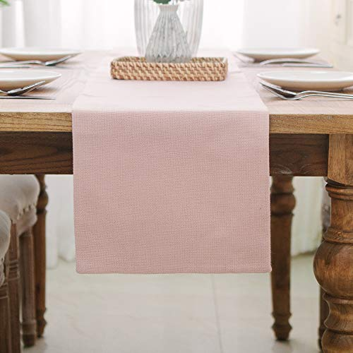 NATUS WEAVER 2 Piece Fabric in 1 Dining Table Runner 12 x 60 inches Kitchen Room Dinner Wedding Birthday Party Burlap Rustic Table Runner, Baby Pink