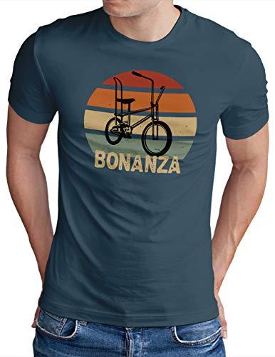 OM3® Bonanza Fahrrad T-Shirt   Herren   Retro Vintage Rad Bonanzarad IV   Denim, M