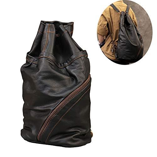 Mochila de Cuero Vintage Bandolera La Bolsa Hombro Messenger Bag Laptop Backpack Mochilas Sport para Hombres Mujer,28 * 20 * 53cm