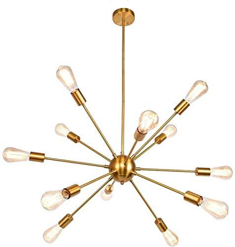 Luster 12 Messing geborsteld Neon Moderne plafondlamp verlichting Golden Lustre Vintage Industrial eetkamer Keuken Living Room