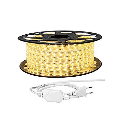 081 Store - STRISCIA LED FLESSIBILE STRIP LED 5050 GIALLO INTERNO ESTERNO 220V BOBINA DA 50 METRI
