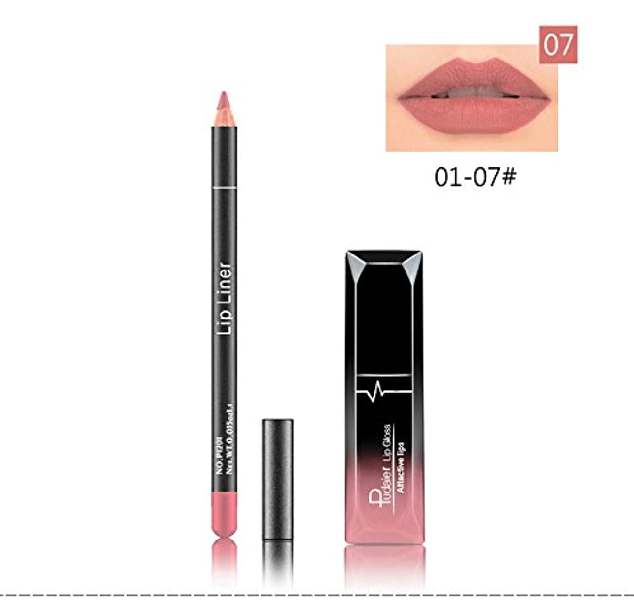 枯渇デンプシーウール(07) Pudaier 1pc Matte Liquid Lipstick Cosmetic Lip Kit+ 1 Pc Nude Lip Liner Pencil MakeUp Set Waterproof Long Lasting Lipstick Gfit