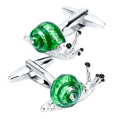 BO LAI DE Men's Cufflinks Exquisite Green Snail Insect Cuff Links Suitable for Business Events, Meetings, Dances, Weddings, Tuxedos, Formal Wear, Shirts, with Gift Boxes