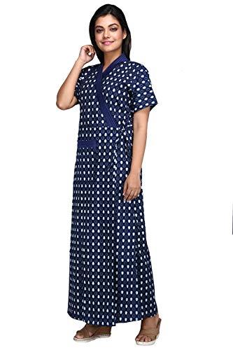 Baby Doll Women's Cotton Maxi Nighty ( Blue_X-Large)