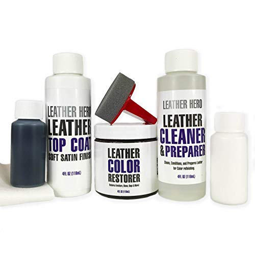 Leather Hero Leather Color Restorer Complete Repair Kit- Refinish, Recolor, Renew Leather & Vinyl Sofa, Purse, Shoes, Auto Car Seats, Couch 4oz (Autumn Red)