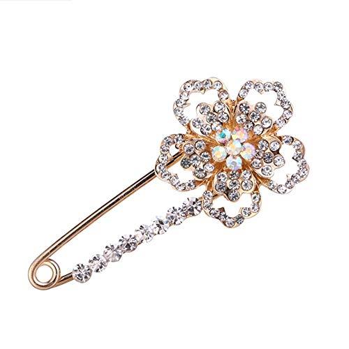 HSQYJ - Pin de solapa de cristal con diseño de flores, elegante y brillante, con diamantes de imitación grandes, broches de seguridad, accesorios de joyería de moda, bufandas, de disfraz mujeres
