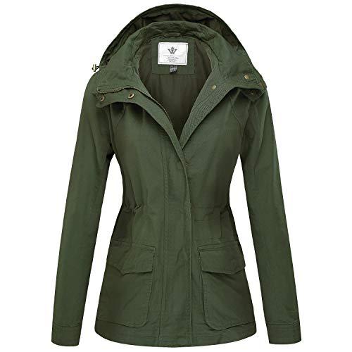 WenVen Giacca Militare Slim Fit in Cotone Giubbotto Casual con Zip Antivento Cappotto Leggera Autunnale Giacchetta Carga Classica Donna Verde Militare S