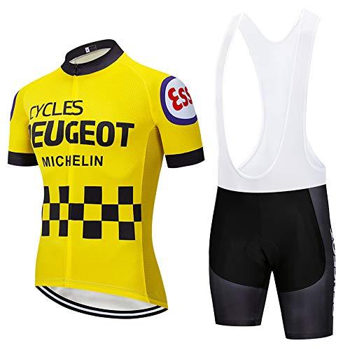 AKAPF Completo Camisetas de Ciclismo para Hombre, Mangas cortas y Pantalones Cortos acolchados con Gel 3D Trajes de Ciclismo transpirables de secado rápido