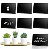 15 Pcs Acrylic Mini Chalkboard Sign for Food 4 x 3 Inch Small Chalkboard Sign Tabletop Chalkboard Signs Black Acrylic Blackboard Signs, Chalkboard Labels with 4 White Chalk, Table Numbers Baby Shower