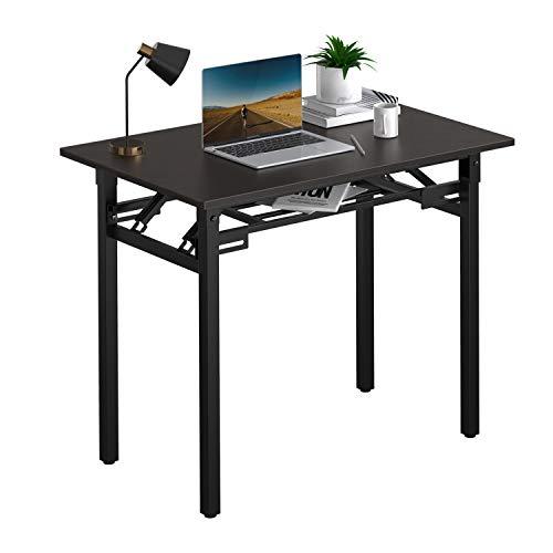 折りたたみデスク 机 パソコンデスク PCデスク 組み立て不要 80*50*75cm 在宅勤務 学習デスク ダイニングテーブル コンパクト収納 アウトドア使用可能 二重補強 安定 ブラウン (black)