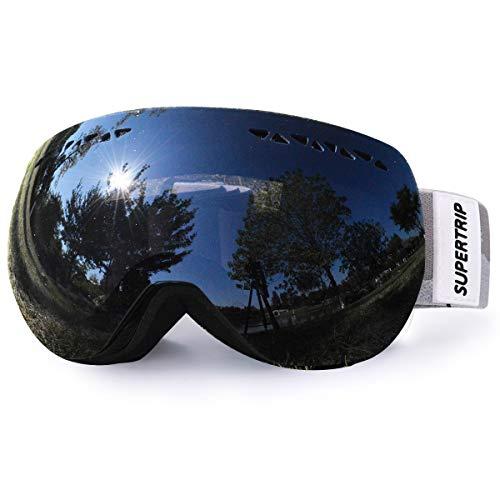 Supertrip Skibrille Damen Herren Snowboardbrille verspiegelt Ski-Schutzbrillen 100% UV400 Schutz für Brillenträger Antifog (Schwarz (VLT 13%))
