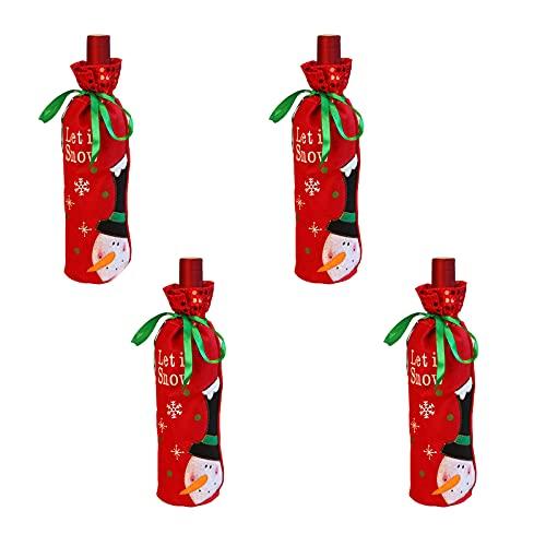 HYLOOD 4 fundas para botellas de vino de Navidad, bolsas de botella de vino con cordón decorativo para decoración de Navidad Año Nuevo