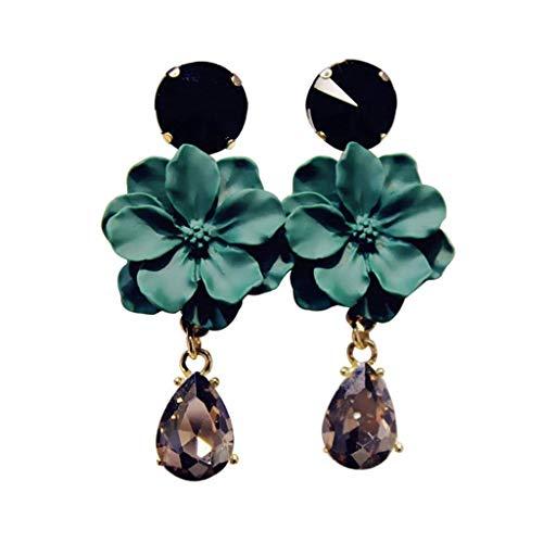 YWSZJ Oído de la Flor cuelga de Largo Pendiente aro de la Manera con Flecos de imitación de Diamante de Las Mujeres, Pendientes Regalo Verde