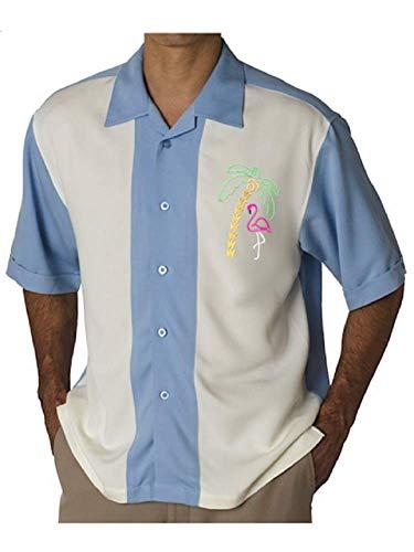 망 하와이 캠프 셔츠 빈티지 쿠바 스타일 볼링 셔츠  플라밍고