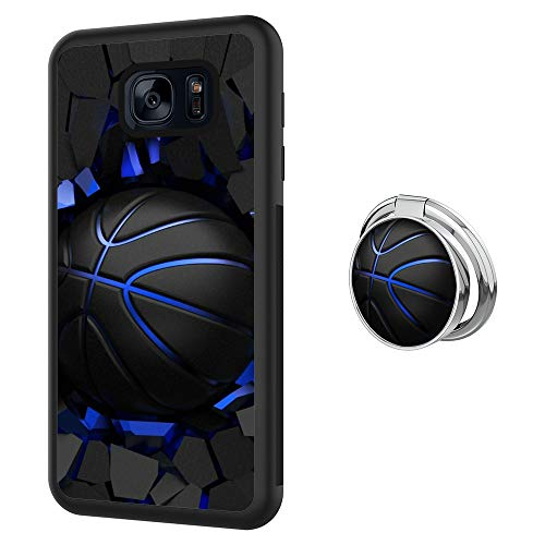 Samsung Galaxy S7 Case with Holder Ring Basketball Soft Black TPU Rubber and PC Anti-Slip Grip Cover Case, Shockproof Defend Protective Phone Case for Samsung Galaxy S7