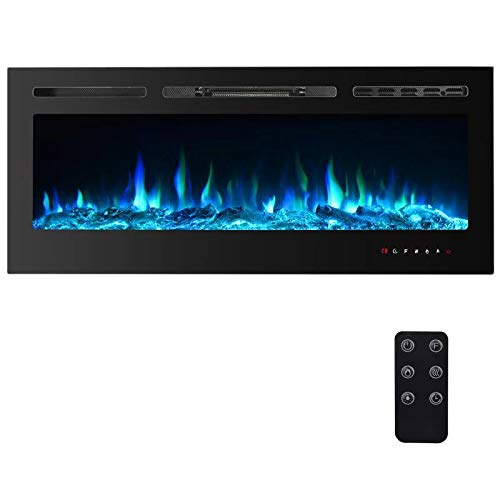 PAOLFOX Recessed and Wall Mounted Electric Fireplace, 9 Available Flame Color and 5 Brightness options, 750/1500W Fireplace Heater, Adjustable Temperature and Timer, Touch Screen&Remote Control (50'')