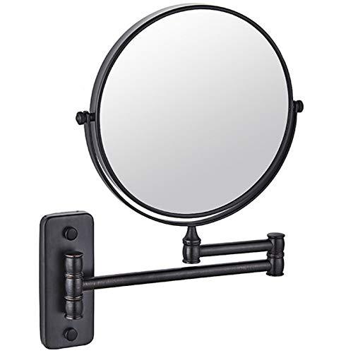 ZHMIRROR Miroir de maquillage mural 10 compartiments, miroir de rasage 20,3 cm, miroir rond double face, pivotant à 360°, grossissement 4 niveaux au c