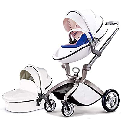 Baby Stroller in 2020,Hot Mom Baby Carriage with Adjustable Seat Height Angle and Four-Wheel Shock Absorption,Reversible?High Landscape and Fashional Pram,White
