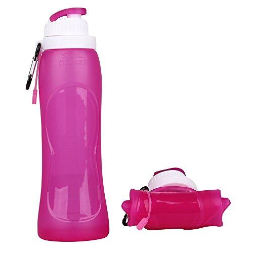 exclura Bouteille d'eau 500 ml rétractable en silicone, flexible, pliable pour Voyage, camping, randonnée, cyclisme, et d'autres activités de plein air, sans BPA, Approuvé par la FDA (Bleu), Rouge