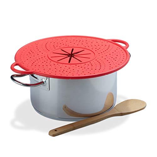 Relaxdays Überkochschutz Silikon, Spritzschutz & Untersetzer für Töpfe, hitzebeständig, pflegeleicht, 30 cm Ø, rot