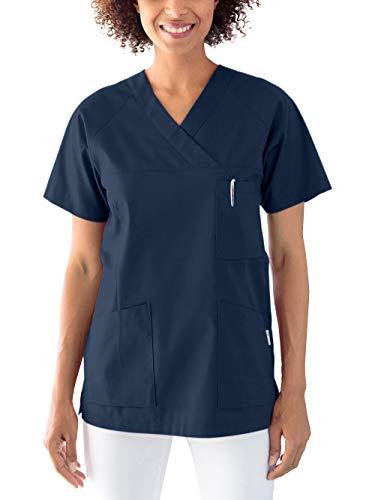 CLINIC DRESS Schlupfkasack Kasack Damen Pflege, Kurzarm und Brusttasche, in 50% Baumwolle, 95 Grad Wäsche Navy L