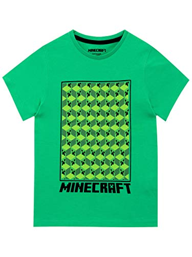 Minecraft Camiseta de Manga Corta para niños Creeper Verde 7-8 Años