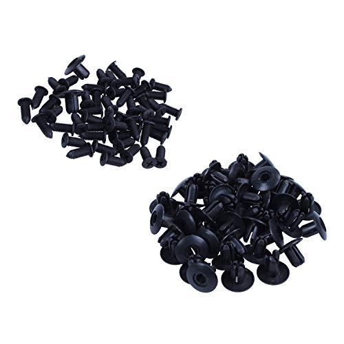 tellaLuna 50 piezas Auto 8mm agujero prensa tipo remaches de plástico negro