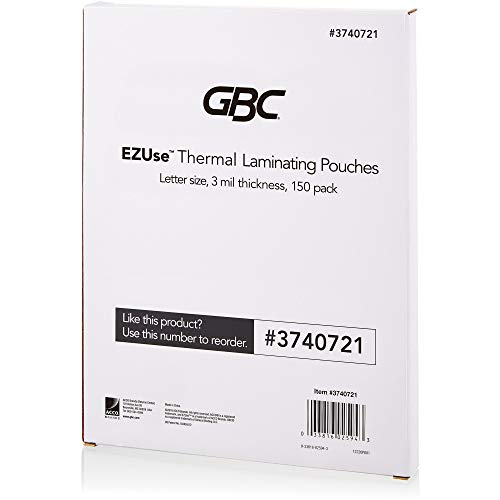 GBC Thermal Laminating Sheets / Pouches, Letter Size, 3 Mil, EZUse, 150-Count (3740721)