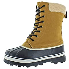 Explore the wilderness like the rugged woodsman in Revelstoke Outdoor Snow Boots Designed in America for outdoor performance and style Made of faux suede upper & sherpa collar Textile lining with padded insole for comfort and wear Features genuine ru...