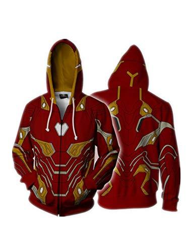 CSXGUO Sudadera con Capucha Cremallera Impresa 3D de Iron Man, Guardia del Sombrero, Ropa Interior