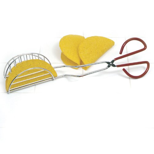 COLIBROX New Taco Shell Maker Press Tortilla Fryer Tongs Plated Steel 13 Inch Long by Kitchen Tools
