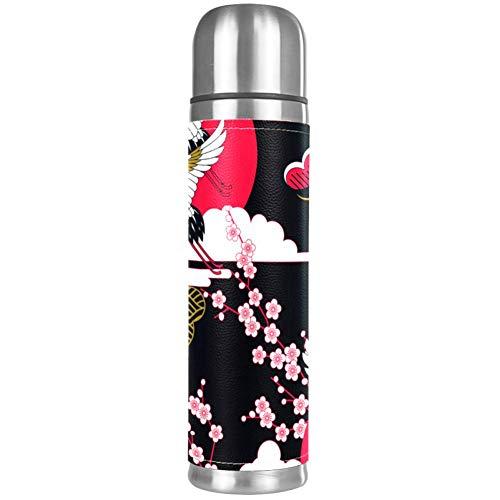 Botella de agua japonesa Sakura con diseño de flores de cerezo, a prueba de fugas, de acero inoxidable, termo aislado para bebidas frías y calientes, 500 ml, para oficina, escuela, viajes