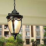 Lanterna Esterno Pendente Alluminio Nero Rustica E27 Impermeabile Lampada a sospensione Metallo Antico Lampadario Semplicità Plafoniera Paralume per Corridoio Giardino Gazebo Cucina