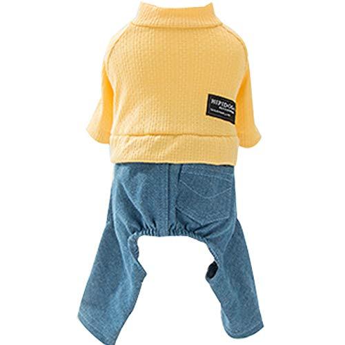 JIUI Hond Kostuum Hippie leuk grappig warm comfort schattige mode winter verdikking, yellow, M