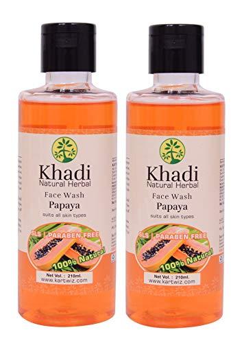 Khadi Natural Herbal Papaya Face Wash – SLS & Paraben Free – Papaya extracts for Youthful & Glowing Face – De-tans skin – Papaya Face Wash For Normal to Dry Skin   Pack of 2 (2x210ml)