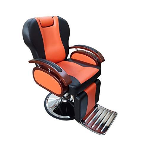 Sillón Barbero hidráulico con reposabrazos, reposacabezas y reposapies integrado Modelo S19 (Naranja y Negro)
