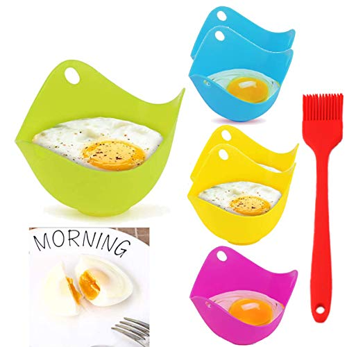 QAQGEAR 7 PCS Egg Poaching Silicone Non-Stick Poached Eggs Cups Pan Work with Egg Poacher Pan, Cookware, Boiler Steamer, Microwave Easy Release and Cleaning and Dishwasher Safe