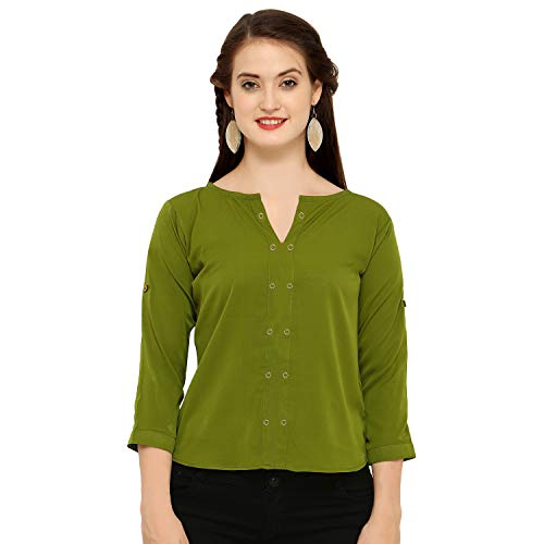 J B Fashion Women's Plain Regular Fit Top (D NO-85-M-1_Green_Medium)
