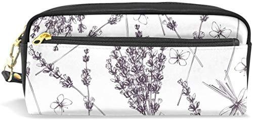 Federmäppchen mit Lavendel-Muster, PU-Leder, Stifttasche, Make-up, Kosmetiktasche für Studenten oder Frauen