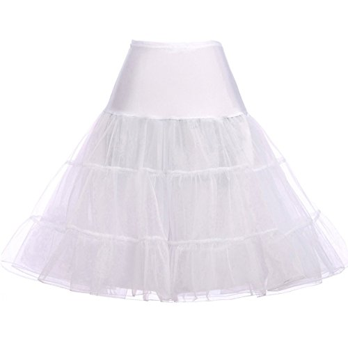 GRACE KARIN Vintage Womens 50s Rockabilly Tutu Skirt Petticoat WhiteSize XL