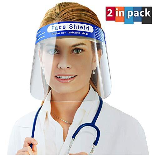 2 Stück Gesichtsschutz Visier transparent Anti-Tropfen staubdicht Schutz Abdeckung | leicht zu reinigen | Schutzfolie muss abgezogen werden |