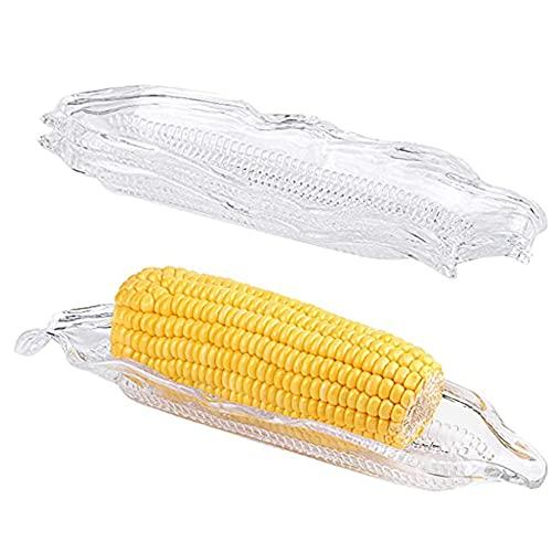 Bandejas de maíz de 2 piezas, plato de servir para maíz en la mazorca Soporte con Agujero de Maíz Contenedor de almacenamiento de cocina para el hogar / cocina de fiesta y barbacoa