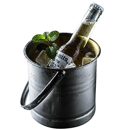 ZWWZ Cubo de Hielo Recipiente para Cubitos de Hielo con asa,Enfriador de champán de Acero Inoxidable,Enfriador de Vino,Enfriador de Botellas,Enfriador de Hielo