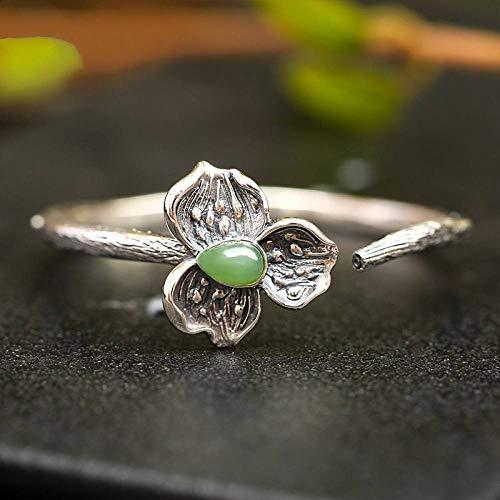 Angelazy armband voor dames, sterling zilver, 925 sterling zilver, fashion vintage instelbaar, met natuurlijke Hetian jade lotusvorm